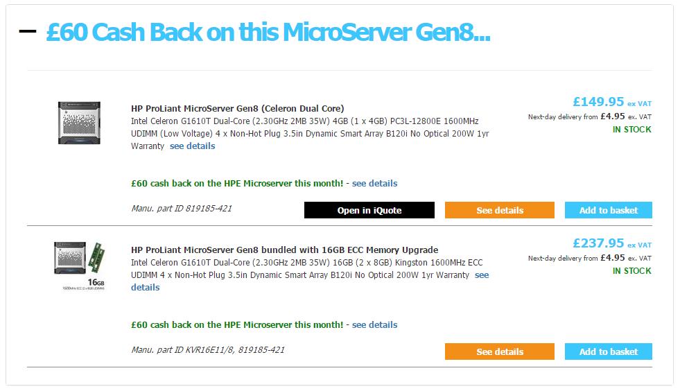 servers plus hp gen8 microserver