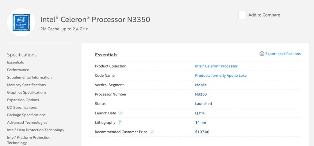 Intel Ark Datasheet for the N3350 in the GB-BPCE-3350C