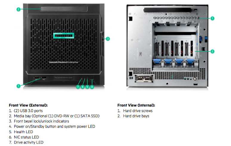 HPE MicroServer Gen10 Front Internal View